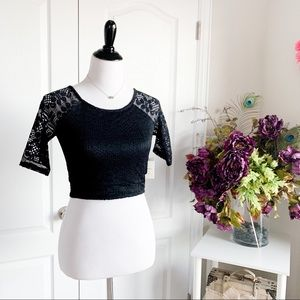 Forever 21 Lined Lace Crop Top In Black